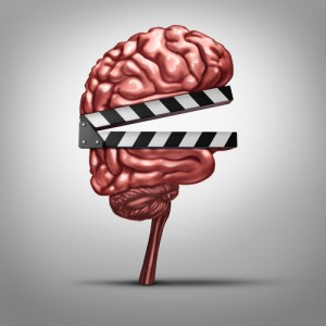 Picture of a brain with a clapboard to illustrate Savor Good Moments, Store the Memories
